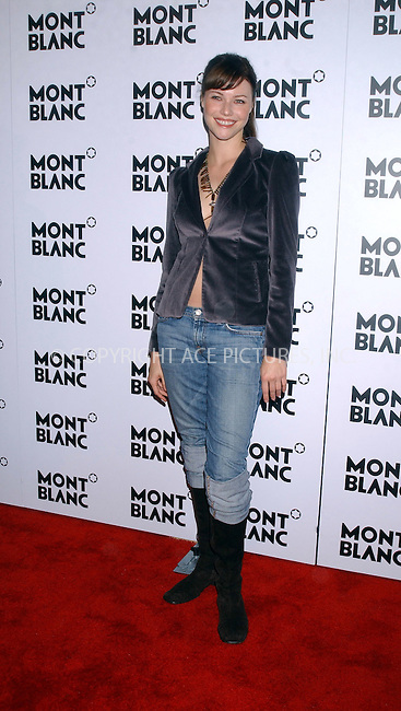 WWW.ACEPIXS.COM . . . . . ....NEW YORK,  OCTOBER 11, 2005  ....Melissa Sagemiller at a launch party for Mont Blanc's first women's jewelry line. ....Please byline: KRISTIN CALLAHAN - ACE PICTURES.. . . . . . ..Ace Pictures, Inc:  ..Craig Ashby (212) 243-8787..e-mail: picturedesk@acepixs.com..web: http://www.acepixs.com