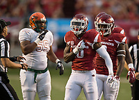 Hawgs Illustrated/BEN GOFF <br /> Randy Ramsey (10), Arkansas linebacker, reacts after sacking Florida A&M quarterback Vincent Jefferies in the first quarter Thursday, Aug. 31, 2017, during the game at War Memorial Stadium in Little Rock.