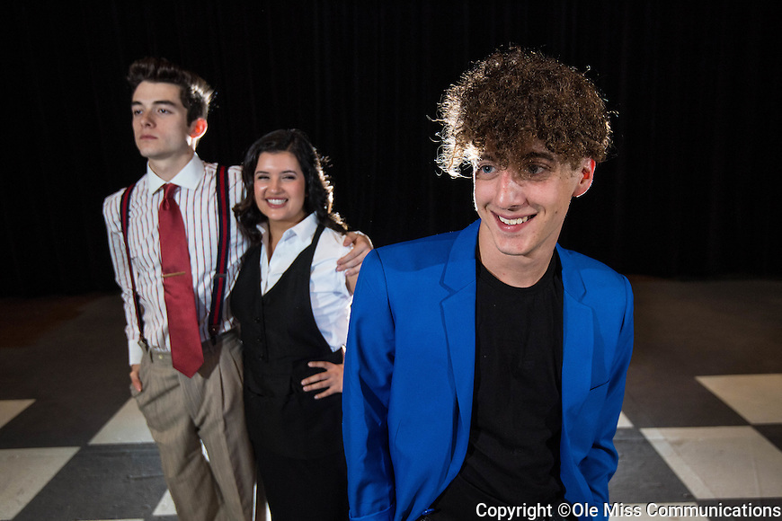 """Theatre majors Cory Clark, right, Katie Gonzalez and Gavin Harriman pose for publicity photos of their upcoming play """"The Wedding Singer"""" running Nov 11-13.   Photo by Kevin Bain/Ole Miss Communications"""