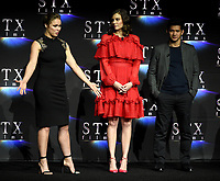 LAS VEGAS, NV - APRIL 24: Actors Ronda Rousey, Lauren Cohan, Iko Uwais onstage during the STX Films presentation at CinemaCon 2018 at The Colosseum at Caesars Palace on April 24, 2018 in Las Vegas, Nevada. (Photo by Frank Micelotta/PictureGroup)