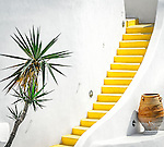 Yellow steps in Imerovigli, Santorini, Greece