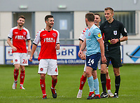 Fleetwood Town's Ashley Hunter taunts Accrington Stanley's Sam Finley<br /> <br /> Photographer Alex Dodd/CameraSport<br /> <br /> The EFL Sky Bet League One - Fleetwood Town v Accrington Stanley - Saturday 15th September 2018  - Highbury Stadium - Fleetwood<br /> <br /> World Copyright &copy; 2018 CameraSport. All rights reserved. 43 Linden Ave. Countesthorpe. Leicester. England. LE8 5PG - Tel: +44 (0) 116 277 4147 - admin@camerasport.com - www.camerasport.com