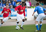 St Johnstone Academy v Manchester United Academy....17.04.15   <br /> Faustin Makela takes on Cameron Lumsden<br /> Picture by Graeme Hart.<br /> Copyright Perthshire Picture Agency<br /> Tel: 01738 623350  Mobile: 07990 594431