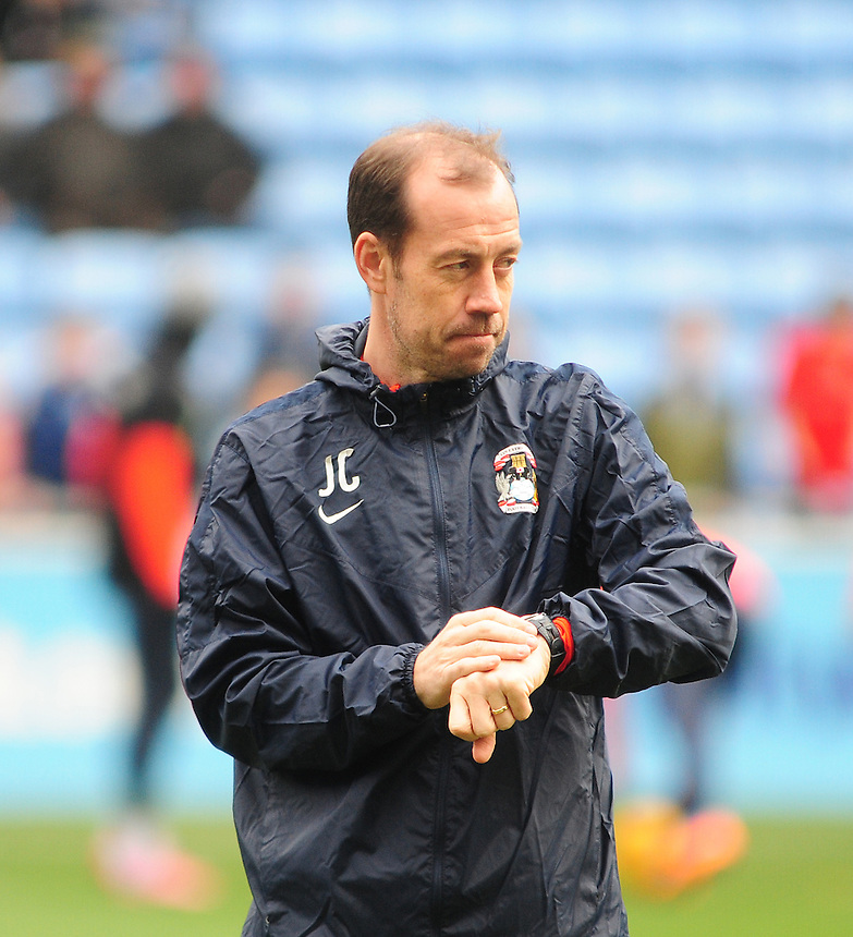 Coventry City&rsquo;s first team coach Jamie Clapham during the pre-match warm-up <br /> <br /> Photographer Andrew Vaughan/CameraSport<br /> <br /> Football - The Football League Sky Bet League One - Coventry City v Fleetwood Town - Saturday 27th February 2016 - Ricoh Stadium - Coventry   <br /> <br /> &copy; CameraSport - 43 Linden Ave. Countesthorpe. Leicester. England. LE8 5PG - Tel: +44 (0) 116 277 4147 - admin@camerasport.com - www.camerasport.com