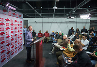 NWA Democrat-Gazette/BEN GOFF @NWABENGOFF<br /> Chad Morris, Arkansas head coach, speaks Wednesday, Jan. 10, 2018, during a press conference to introduce new assistant coaches at the Fred W. Smith Football Center in Fayetteville.