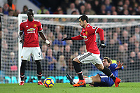 Henrikh Mkhitaryan of Manchester United eludes a tackle from Chelsea's Marcos Alonso during Chelsea vs Manchester United, Premier League Football at Stamford Bridge on 5th November 2017