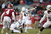 NWA Democrat-Gazette/CHARLIE KAIJO Mississippi State kicker Jace Christmann scores on a field goal, Saturday, November 2, 2019 during the fourth quarter of a football game at Donald W. Reynolds Razorback Stadium in Fayetteville. Visit nwadg.com/photos to see more photographs from the game.