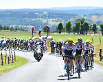 The peloton with Luke Rowe (WAL) and Christian Knees (GER) and the rest of Team Sky on the front during Stage 15 of the 104th edition of the Tour de France 2017, running 189.5km from Laissac-Severac l'Eglise to Le Puy-en-Velay, France. 16th July 2017.<br /> Picture: ASO/Pauline Ballet   Cyclefile<br /> <br /> <br /> All photos usage must carry mandatory copyright credit (&copy; Cyclefile   ASO/Pauline Ballet)