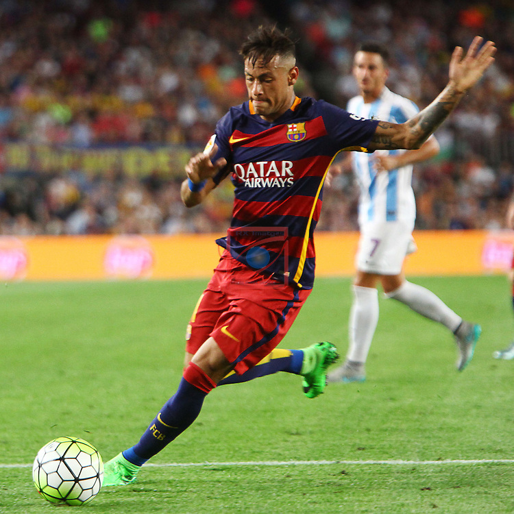 League BBVA 2015/2016. Game: 2.<br /> FC Barcelona vs Malaga CF: 1-0.<br /> Neymar Jr.