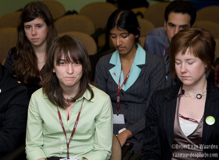 Emotion runs high in the Canadian Youth Delegation and the Canadian Delegation meeting. Inaction by the Canadian goverment and the false claim to be a leader in the process to stop climate change is leading to greater and greater frustration amongst the youth. UNFCCC COP 14 (©Robert vanWaarden ALL RIGHTS RESERVED)