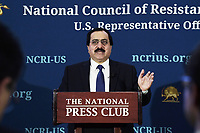 Washington, DC - September 30, 2019: Alireza Jafarzadeh, Deputy Director, National Council of Resistance of Iran (NCRI-US), holds a news conference about the September 14, 2019 attack against Saudi Oil Installations, September 30, 2019. (Photo by Lenin Nolly/Media Images International)