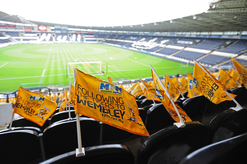 Hull City branded 'Following the Tigers to Wembley' flags in in the South Stand at the Kingston Communications Stadium<br /> <br /> Photographer Chris Vaughan/CameraSport<br /> <br /> Football - Barclays Premiership - Hull City v Everton - Sunday 11th May 2014 - Kingston Communications Stadium - Hull<br /> <br /> &copy; CameraSport - 43 Linden Ave. Countesthorpe. Leicester. England. LE8 5PG - Tel: +44 (0) 116 277 4147 - admin@camerasport.com - www.camerasport.com