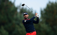 Lee Slattery of England in action during Round 4 of the 2015 British Masters at the Marquess Course, Woburn, in Bedfordshire, England on 11/10/15.<br /> Picture: Richard Martin-Roberts | Golffile