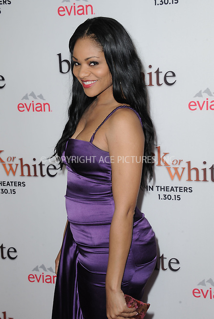 WWW.ACEPIXS.COM<br /> <br /> January 20 2015, LA<br /> <br /> Erica Hubbart arriving at the premiere of Relativity Media's 'Black or White' at Regal Cinemas L.A. Live on January 20, 2015 in Los Angeles, California.<br /> <br /> By Line: Peter West/ACE Pictures<br /> <br /> <br /> ACE Pictures, Inc.<br /> tel: 646 769 0430<br /> Email: info@acepixs.com<br /> www.acepixs.com