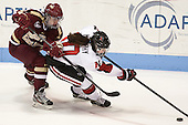 Emily Field (BC - 15), Colleen Murphy (NU - 10) - The Northeastern University Huskies defeated Boston College Eagles 4-3 to repeat as Beanpot champions on Tuesday, February 12, 2013, at Matthews Arena in Boston, Massachusetts.