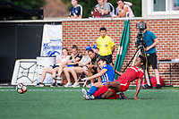 Boston, MA - Saturday July 01, 2017: Brooke Elby and Francisca Ordega during a regular season National Women's Soccer League (NWSL) match between the Boston Breakers and the Washington Spirit at Jordan Field.