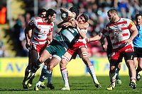 Owen Williams of Leicester Tigers is tackled by Gareth Evans of Gloucester Rugby. Aviva Premiership match, between Leicester Tigers and Gloucester Rugby on April 2, 2016 at Welford Road in Leicester, England. Photo by: Patrick Khachfe / JMP