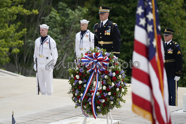 United States President Donald J Trump, First lady Melania Trump, and US Vice President Mike Pence, commemorate Memorial Day by participating in a Wreath Laying ceremony the Tomb of the Unknown Soldiers at Arlington National Cemetery in Arlington, Virginia on Monday, May 25, 2020.<br /> Credit: Chris Kleponis / Pool via CNP/AdMedia