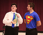 C.J. Zimmer and Dominic Wintz during the Children's Theatre of Cincinnati presentation for composer Charles Strouse of 'Superman The Musical' at Ripley Grier Studios on June 8, 2018 in New York City.