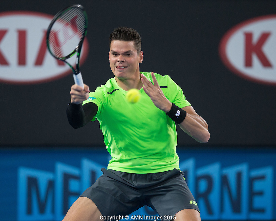Milos Raonic (CAN)<br /> <br /> Tennis - Australian Open 2015 - Grand Slam -  Melbourne Park - Melbourne - Victoria - Australia  - 22 January 2015. <br /> &copy; AMN IMAGES