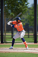Houston Astros Carlos Machado (1) bats during a Minor League Spring Training Intrasquad game on March 28, 2019 at the FITTEAM Ballpark of the Palm Beaches in West Palm Beach, Florida.  (Mike Janes/Four Seam Images)