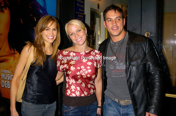 Natalia Livingston, Alicia Leigh Willis and Tyler Christopher ..at a performance of Aida on July 23, 2004 at the Palace ..Theatre. ..Photo by Robin Platzer, Twin Images