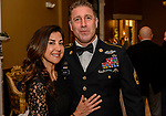 """WATERBURY, CT. 23 May 2018-052318BS93 - 2018 Honoree Sergeant First Class Matthew Docchio and Lauren Pallato of NY, NY enjoy themselves at the Waterbury Veterans Committee's """"Support Our Troops"""" Annual Dinner at the Ponte Club on Wednesday evening. Bill Shettle Republican-American"""