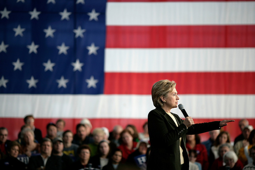 Democratic presidential candidate U.S. Senator Hillary Clinton (D-NY) speaks at a campaign stop in Cedar Rapids, Iowa.<br /> <br /> Photo by Brooks Kraft/Corbis
