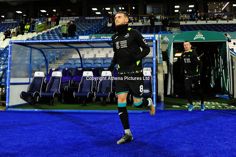 Matt Grimes of Swansea City during the pre-match warm-up for the Sky Bet Championship match between Huddersfield Town and Swansea City at The John Smith's Stadium in Huddersfield, England, UK. Tuesday 26 November 2019