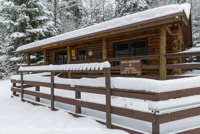Ranger Headquarters at the Lincoln Woods Trailhead in Lincoln, New Hampshire covered in snow during the winter months.