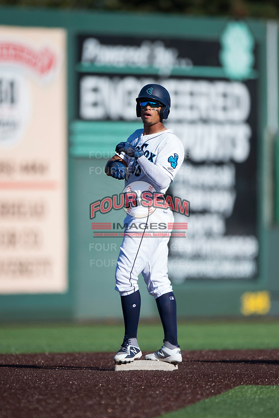 Everett AquaSox right fielder Jansiel Rivera (36) during a Northwest League game against the Tri-City Dust Devils at Everett Memorial Stadium on September 3, 2018 in Everett, Washington. The Everett AquaSox defeated the Tri-City Dust Devils by a score of 8-3. (Zachary Lucy/Four Seam Images)
