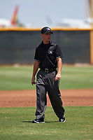 Umpire Jarrod Moehlmann during an Arizona League game between the AZL Indians Red and the AZL Indians Blue on July 7, 2019 at the Cleveland Indians Spring Training Complex in Goodyear, Arizona. The AZL Indians Blue defeated the AZL Indians Red 5-4. (Zachary Lucy/Four Seam Images)