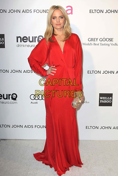 Mena Suvari.21st Annual Elton John Academy Awards Viewing Party held at West Hollywood Park, West Hollywood, California, USA..February 24th, 2013.oscars full length red long sleeves dress gold clutch bag hand on hip.CAP/ADM/KB.©Kevan Brooks/AdMedia/Capital Pictures.