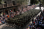 MEXICO DF. SEPTEMBER 16, 2006. ON THE MORNING OF INDEPENDENCE DAY,  THE ARMY CELEBRATES TRADITIONALLY A MILITARY PARADE FROM THE CONSTITUTION SQUARE (ZOCALO) THROUGH THE MAIN STREETS OF HISTORICAL CENTRE.