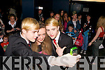 Aoife Sheehy from Tralee getting her photo taken with Jedward back stage at Denny Street stage in the Kerry County Museum on Friday.