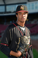 Quad Cities River Bandits pitcher Chris Lee (17) poses for a photo before a game against the Cedar Rapids Kernels on August 18, 2014 at Perfect Game Field at Veterans Memorial Stadium in Cedar Rapids, Iowa.  Cedar Rapids defeated Quad Cities 5-3.  (Mike Janes/Four Seam Images)