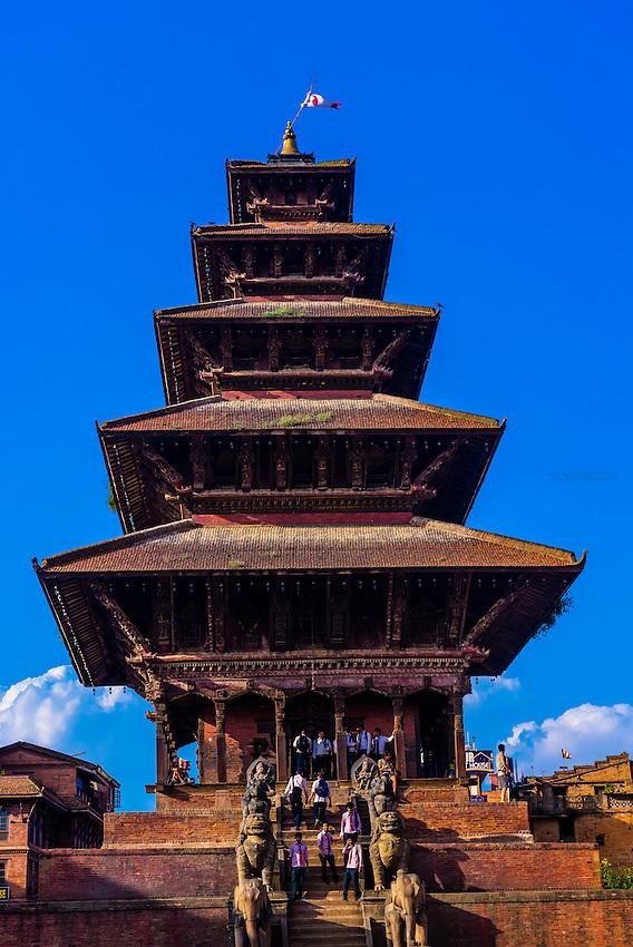 Nyatapola Pagoda in Taumadhi Square, Bhaktapur, Kathmandu Valley, Nepal.