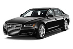 2015 Audi A8 3.0T LWB quattro tiptronic 4 Door Sedan angular front stock photos of front three quarter view