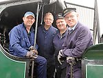 Crew members Bobby Jolley, David Carse, Ken Fox and Gerry Mooney aboard the Steam train at McBride station Drogheda before it set off on it's return journey to Skerries. Photo: Colin Bell/pressphotos.ie
