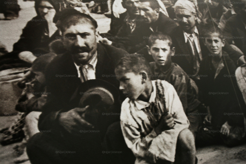 "Photographs of Roma and Sinti Holocaust victims in concentration camp. Germany..The Deportation of Jews, Roma and Sinti in Hamburg 1940-45. Roma and Sinti Holocaust survivors. Conference and exhibition. Roma Holocaust ""Porrajmos"", the Roma word means literally ""the devouring"", where it is estimated that between 500 thousand and one and a half million Roma were exterminated across Germany, Poland, ex-Yugoslavia and Czechoslovakia during the 1930s and 1940s. The Roma were the first race to be subjected to experimentation by the Nazis, as part of Joseph Goebbels' 'Final Solution'."