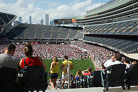 01 JUL 2014 - CHICAGO, USA - US soccer fans watch their teams 2014 World Cup match against Belgium on a giant screen at Soldier Field in Chicago in the USA  (PHOTO COPYRIGHT © 2014 NIGEL FARROW, ALL RIGHTS RESERVED)