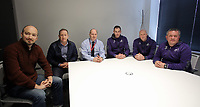 Pictured L-R: Nick Ames of The Guardian newspaper, Swansea City Club chairman Huw Jenkins, Jed Roddy Head of Youth for the Premier League, Head Coach Paul Clement, U23 coaches Cameron Toshack and Gary Richards. Friday 24 March 2017<br /> Re: Swansea City U23 training ahead of their International Cup game against Porto, Fairwood training ground, UK