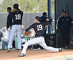 (L-R) Hiroki Kuroda, Masahiro Tanaka (Yankees),<br /> FEBRUARY 15, 2014 - MLB :<br /> Hiroki Kuroda and Masahiro Tanaka of the New York Yankees practice pitching in the bullpen during the New York Yankees spring training camp in Tampa, Florida, United States. (Photo by AFLO)