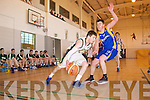 Sean Dowling Mounthawk v Sean Nolan Castleisland in the U-19 Munster Basketball final in Monthawk Gym on Monday.