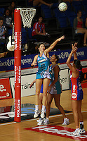 20.03.2010 Thunderbirds Sharni Layton in action during the ANZ Champs Netball match between the Mystics and Thunderbirds at Trusts Stadium in Auckland. Mandatory Photo Credit ©Michael Bradley.