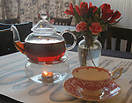 Tea service at Fezziwig's Charles Dickens Tea Room & Cafe' in Lebanon. Customers can have lunch from 11 a.m. to 2 p.m. on Tuesday's through Saturdays at the newly-opened cafe'.  Before or after their meal they can shop at Fezziwig's for all sorts of imported British items.