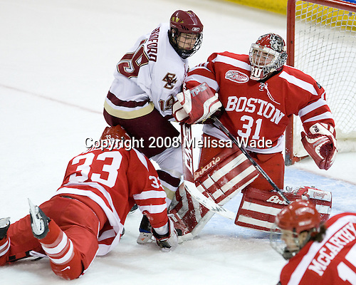 Colin Wilson (Boston University - 33), Brock Bradford (Boston College - 19), Kieran Millan (Boston University - 31) - The Boston University Terriers defeated the Boston College Eagles 3-1 at Kelley Rink in Conte Forum in Chestnut Hill, Massachusetts.