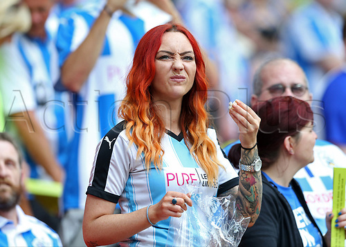 May 29th 2017, Wembley Stadium, London, England; EFL Championship playoff final, Huddersfield Town versus Reading; Huddersfield Town fan looking on from the stands before kick off