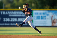 Danville Braves second baseman Yeudi Grullon (7) makes an off-balance throw to first base against the Burlington Royals at Burlington Athletic Park on August 13, 2015 in Burlington, North Carolina.  The Braves defeated the Royals 6-3. (Brian Westerholt/Four Seam Images)