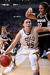 SIOUX FALLS, SD - MARCH 7:  Ellie Thompson #45 of South Dakota State dribbles around Mikaela Shaw #22 of Omaha in the 2016 Summit League Tournament. (Photo by Dave Eggen/Inertia)